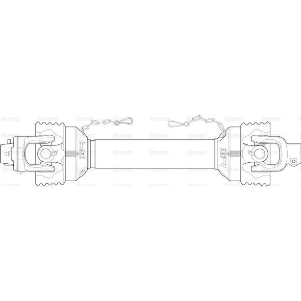 Wałek odbioru mocy-kompletny, (Lz) Długość: 1150mm, 1 3/8 x 6 Bolec Q/R to 1 3/8 x 6 Piasta sprzęgła